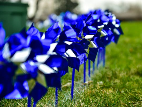 Pinwheels were planted in front of the Marion County