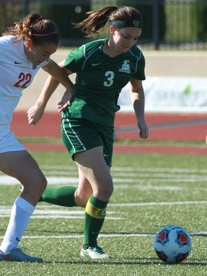 St. Norbert College senior Katie Vanden Avond takes control of the ball during the Green Knights' 1-0 victory over Grinnell College this season at Schneider Stadium in De Pere.