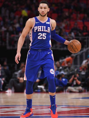 Philadelphia 76ers guard Ben Simmons (25) during the game against the Detroit Pistons at Little Caesars Arena on April 4, 2018.