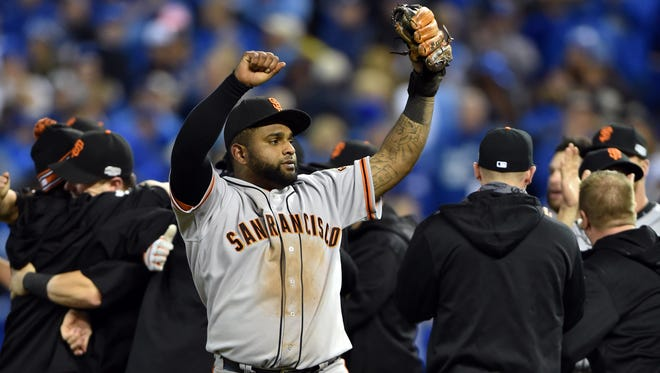 Sandoval celebrates after defeating the Kansas City Royals.