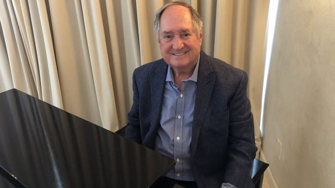 Neil Sedaka at his piano in his Los Angeles home about to record a new mini-concert.