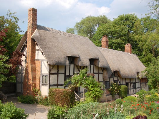 The thatched roof of Anne Hathaway's Cottage, where