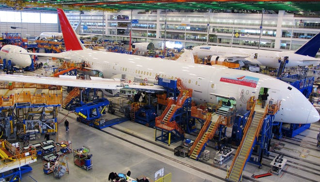 Workers assemble Boeing 787 Dreamliners in the company's assembly plant in North Charleston, S.C.