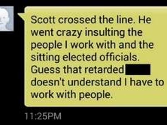 One of several text messages sent from Joe Sweeten's Montgomery County-issued cell phone in a conversation that included many vulgar insults and profanities. This particular text was in reference to a Facebook page that Scott Comperry and Sweeten initially worked on together.