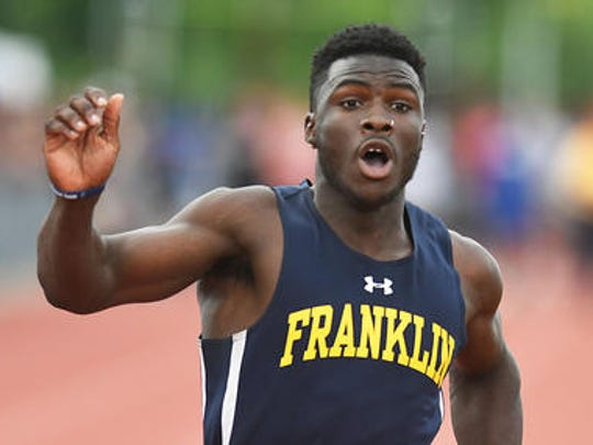 Franklin's Mario Heslop won the 100 and 400 meter dash at the Meet of Champions on Saturday, June 9, 2018 at Northern Burlington High School.