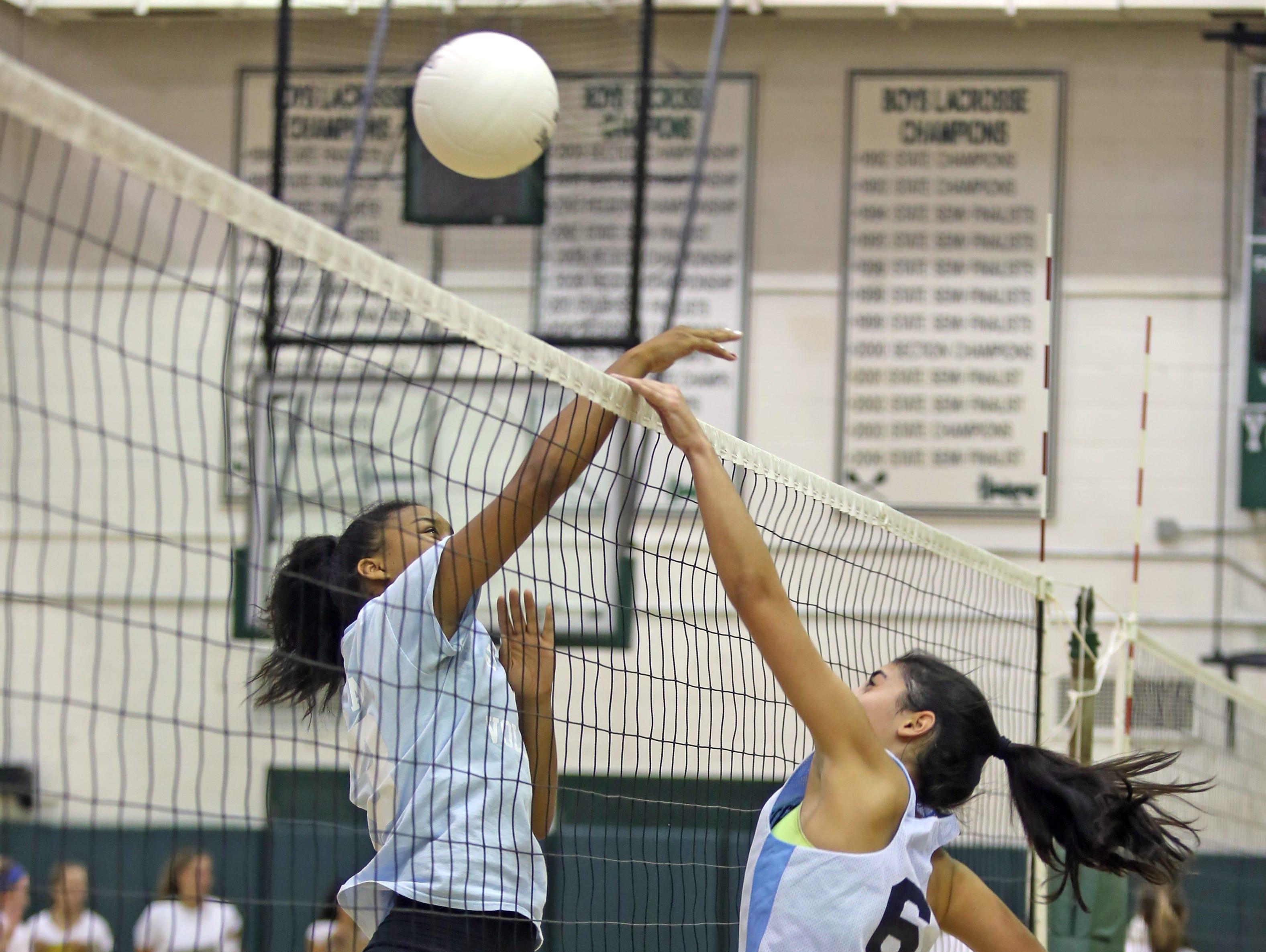 Ursuline plays Pelham High School during girls volleyball scrimmage game at Yorktown High School on Tuesday, Aug. 30, 2016.