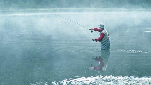 Fishing outdoors
