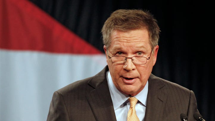Ohio Gov. John Kasich delivers his State of the State address in Wilmington in late February.