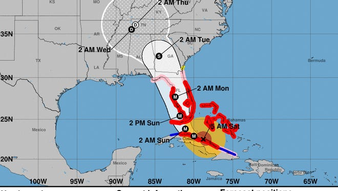Forecast cone of Hurricane Irma as of 5 a.m. on  Sept. 9, 2017.