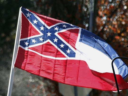 The Mississippi flag with the Confederate battle emblem