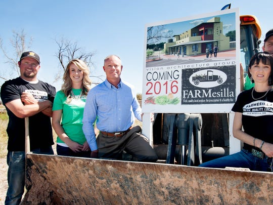 Owners of FARMesilla pose at their future site. From left to right Jay Hill, Katie Hill, Warren Russell, Shawna Runyan, and TJ Runyan.