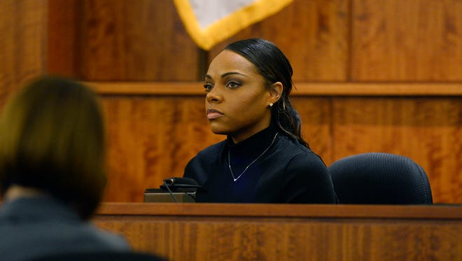 Shayanna Jenkins testifies at the murder trial of her fiancee, former New England Patriots football player Aaron Hernandez.