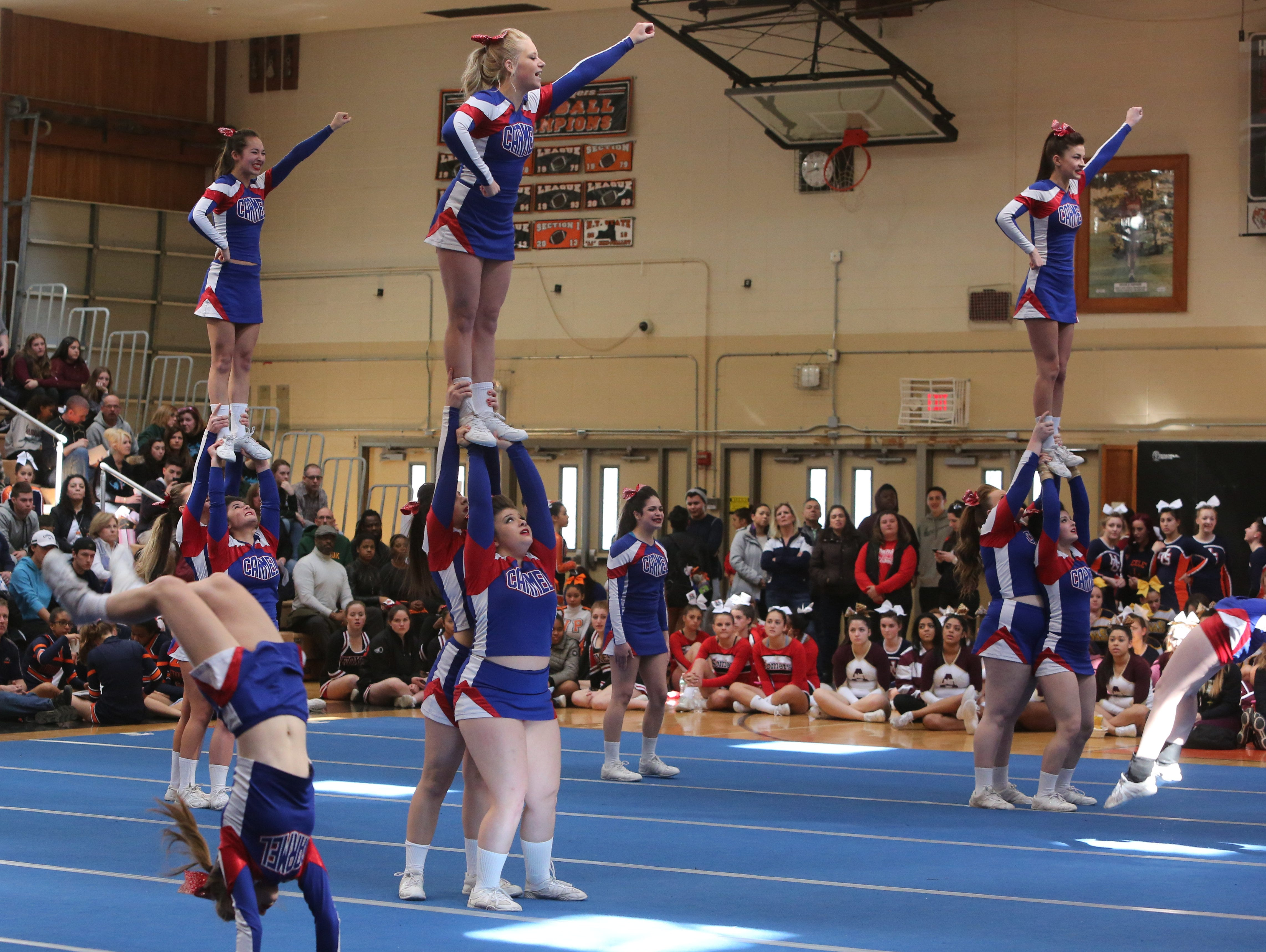 Carmel High School cheerleaders perform during the Section One Cheerleading Finals 2016 at White Plains High School, Feb. 27, 2016.