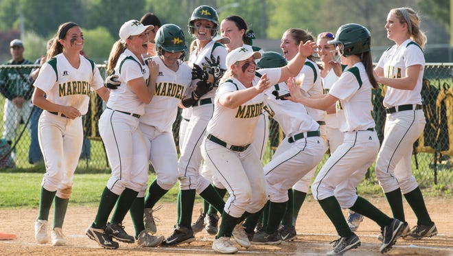 Mardela celebrates after a close win against Parkside on Monday, April 25, 2016.