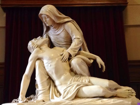 This statue adorns the interior of the Nativity of Our Lord Catholic Church on Detroit's east side near Gratiot and I-94.