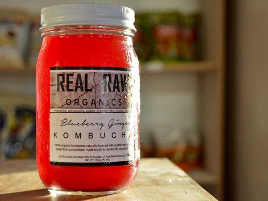 Blueberry ginger kombucha available at Real Raw Organics.