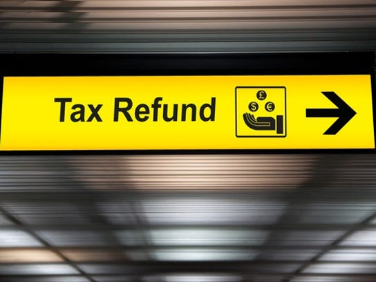 Tax refund sign at airport