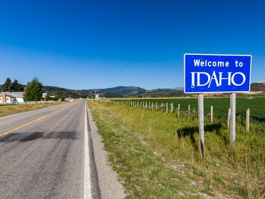 """Welcome to Idaho"" sign"