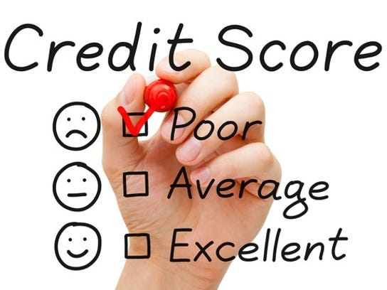 A hand holds a pen against a transparency that reads credit score, poor, average, and excellent, with faces next to each one. The hand checks the box marked poor.