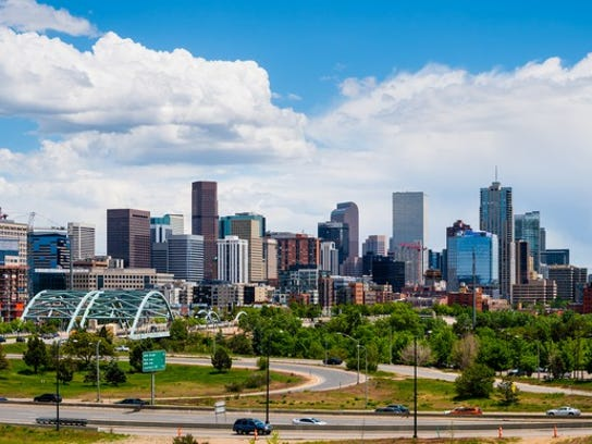 The Denver, Colorado skyline.