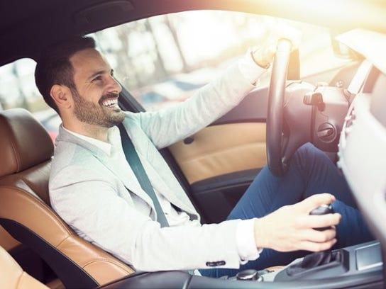Man driving a car