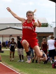 Electra's Alexa Daniel competes in the 2A long jump Thursday, April 20, 2017, at the District 9 and 10 Area Meet in Jacksboro. Daniel finished in first with a jump of 16-11.25.