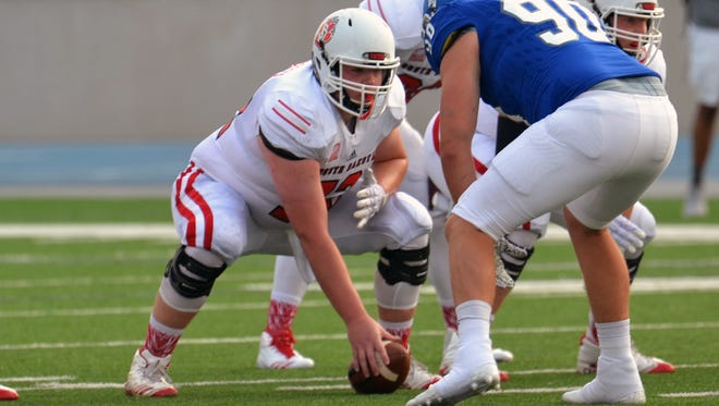 Mason Scheidegger is starting at center for USD as a redshirt freshman.