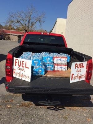 A group is accepting donations for fire fighters Monday from noon to 5 p.m. at the High Places Community Church in Oak Ridge.