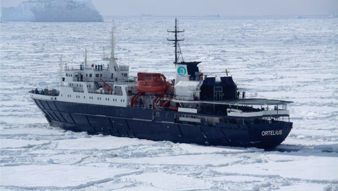 The m/vOrtelius will make a 32-day trip from Argentina to New Zealand, stopping in Antarctica.