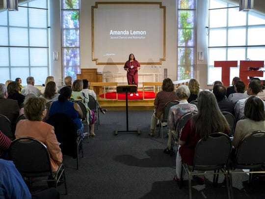Inmate Amanda Lemon speaks at the TEDx Wilmington Salon event held at the Baylor Women's Correctional Institution on Friday morning.