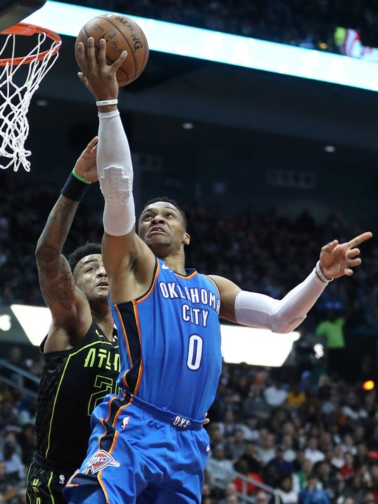 USP NBA: OKLAHOMA CITY THUNDER AT ATLANTA HAWKS S BKN ATL OKC USA GA