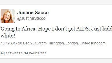 This tweet from InterActiveCorp's Senior Director of Corporate Communications Justine Sacco went viral Friday while Sacco was on a flight to Africa.