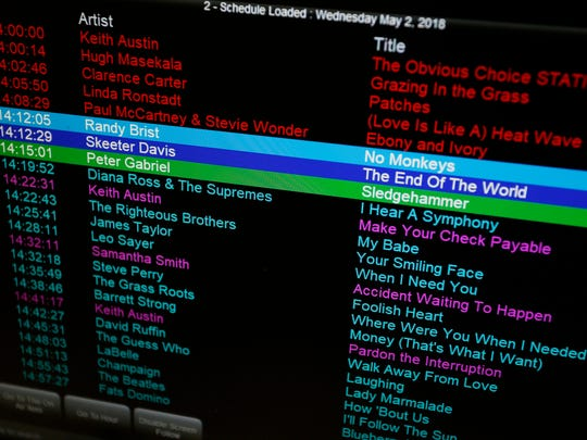 A monitor displays the playlist for Jeff 92 Wednesday,