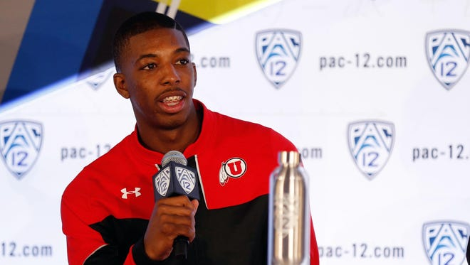 Utah senior guard Delon Wright during the Pac-12 conference men's basketball media day at Pac-12 Networks on Oct. 23, 2014.