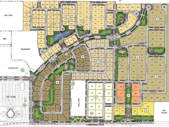 A site plan shows the layout of the proposed Somerset neighborhood surrounding the new Mormon temple in Gilbert
