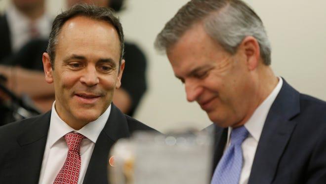 Kentucky Gov. Matt Bevin, left, and Hal Heiner