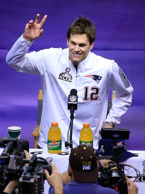 Tom Brady of the New England Patriots addresses the media at Super Bowl XLIX media day on Tuesday, Jan. 27, 2015, in Phoenix.