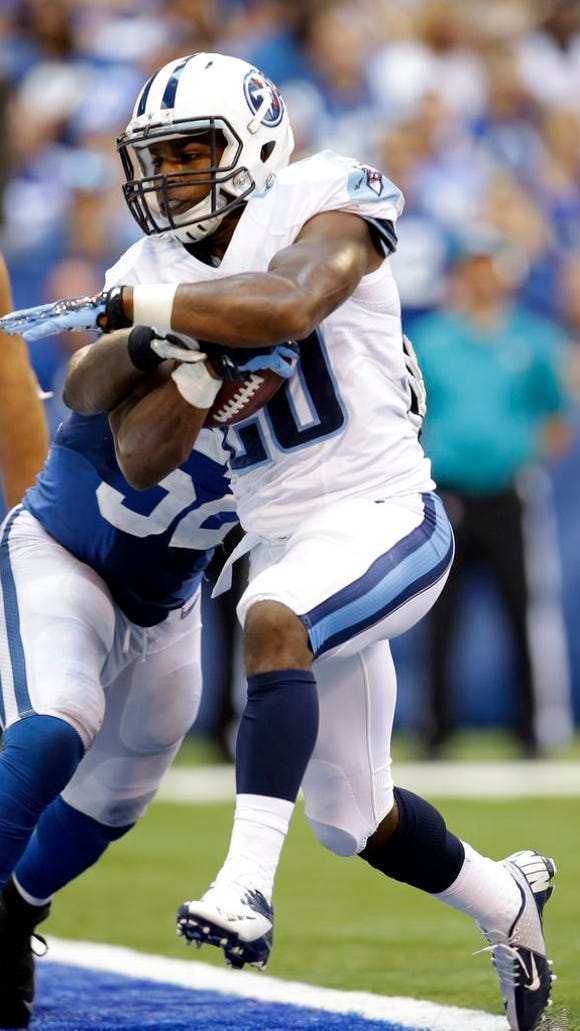 Titans running back Bishop Sankey scores against the Colts in the second half.