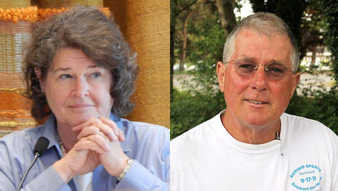Becky Erickson, left, and Ricky Moon, candidates for Poulsbo mayor