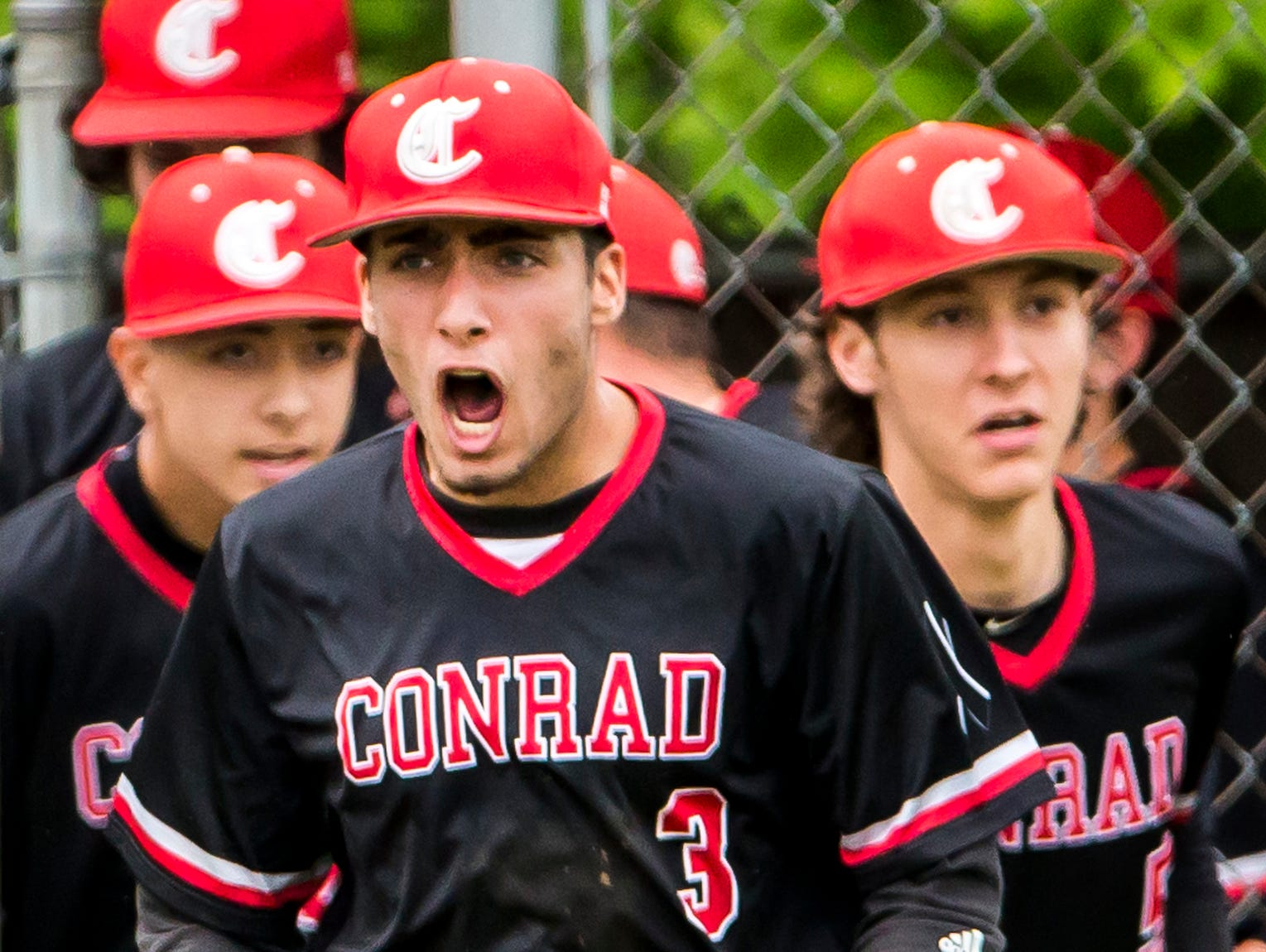 Conrad's Dominic Wayne celebrates following Conrad's 1-0 win over Delaware Military Academy in Newark on Tuesday afternoon.