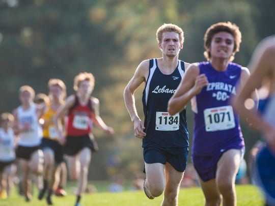 Lebanon's Derrin Klick took home a medal after a 16th place finish at the Lancaster-Lebanon League Cross Country meet.