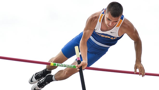 Chase Himmelspach clears his height in Pole Vault during the Division II state final Friday at Jesse Owens Memorial Stadium in Columbus.