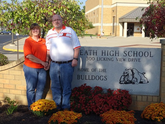Jean and Mark Wethey are pictured here in 2015 for a story in The Advocate about their support for the Heath High School athletic programs. Jean Wethey died during the weekend.