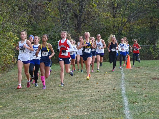 Lancaster's Dasia Burgess and Elise Johnson race with front pack during the first mile Saturday of the Ohio Capital Conference-Ohio Division meet.