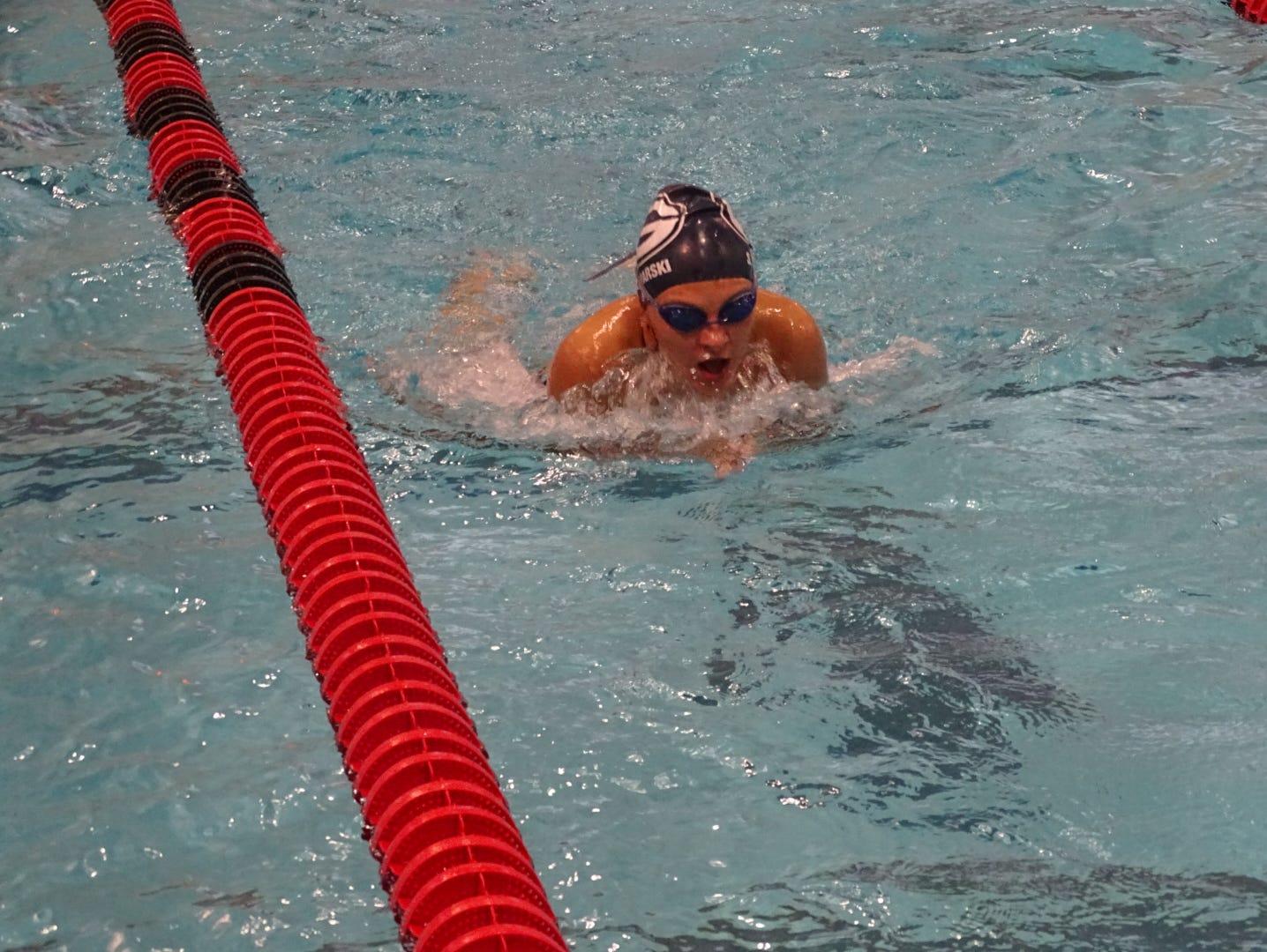 Granville sophomore Sydney Bednarski practices the breaststroke Monday during practice at Denison.