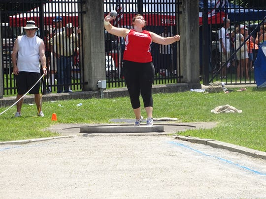 Port Clinton's Morissa Mallory competes in the shot put Saturday during the Midwest Meet of Champions.