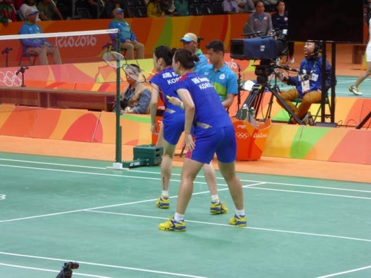 Badminton is one of the best spectator sports in Rio, fast action and three matches going simultaneously.