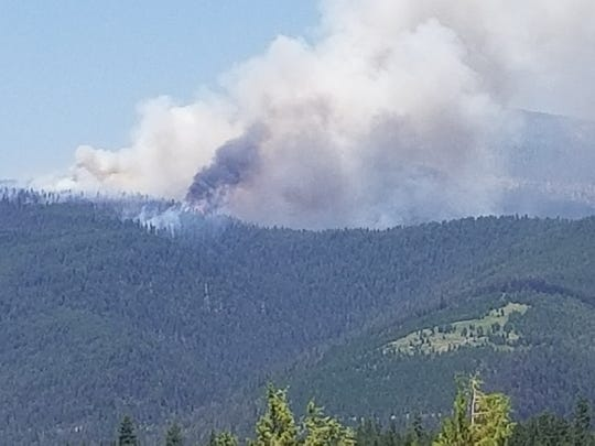 Park Creek Fire burns north of Lincoln on July 15, 2017