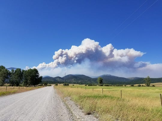 The Park Creek fire as seen from Sucker Creek Road. The fire continues to move into the dense, dead timber stands in Helena-Lewis and Clark National Forest north of Lincoln.