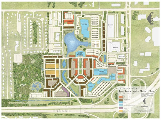 "This artist's rendering shows  the big ""Troy Town Center"" plan, with I-75 running along the bottom and the complex bounded on the right by Big Beaver Road"